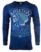Affliction Menand039s Long Sleeve Thermal Reversible Shirt Ac Distillery Tribe Biker
