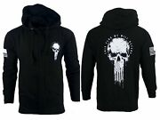 Howitzer Style Menand039s Zip Up Hoodie Flag Skull Military Grunt S M L Xl 2xl