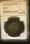 Ngc Ms 62 Japan 1875 Emperor 8th Year Of Meiji M8 Trade Dollar Silver Coin