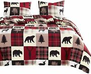 Wake In Cloud - Rustic Patchwork Comforter Set Christmas Lodge Red And Black Be
