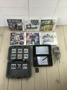 Nintendo 3ds Xl 15 Games Charger Game Case Console System Spr-001 Red Black See