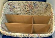 Longaberger Large Sort And Store Desktop Basket W/ Liners Wood And Plastic And Cloth