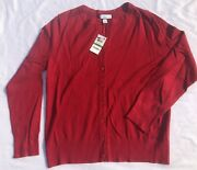 Charter Club Party Cardigans Sweater Long Sleeve Crew-neck Red Large New Ab23