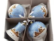 Set 4 Large Hand Decorated Czech Blue Satin Glass Christmas Tree Ornaments