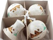 Set 4 Large Hand Decorated Czech White Satin Glass Christmas Tree Ornaments