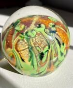 """Multicolored Artistic Glass Paperweight 3"""" Orange Green Yellow Clear"""