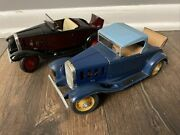 2 Vintage Antique Hubley Toys Diecast Metal Toy Car Chevy Coupe Rumble Seat Cars