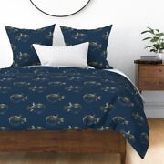 Puffer Fish Blowfish Blow Fish Gold And Navy Navy Sateen Duvet Cover By Roostery