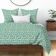 Monkey Tropical Watercolor Animal Mint Green Sateen Duvet Cover By Roostery