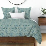 Vintage Damask Blue Thistle Floral Historic Ikat Sateen Duvet Cover By Roostery