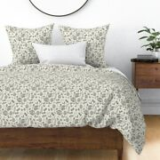 Autumn Fall Pinecones Nature Walk Grey Block Sateen Duvet Cover By Roostery