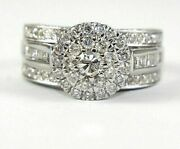 Natural Round Diamond Solitaire Halo Wide Ladyand039s Ring 14k White Gold 2.11ct