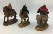 3 Nativity Figures Made In Italy Wiseman King On Camel , Horse And Elephant