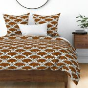 Scallop Tiles Burnt Orange Tile Mosaic Rust Sateen Duvet Cover By Roostery