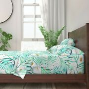 Watercolor Palms Mint Green And Gold 100 Cotton Sateen Sheet Set By Roostery