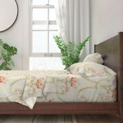 Floral Vintage Victorian Damask Stripe 100 Cotton Sateen Sheet Set By Roostery