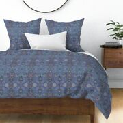 Ottoman Turkish Damask Persian Victorian Blue Sateen Duvet Cover By Roostery