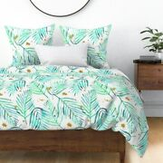 Watercolor Palms Mint Green And Gold Tropical Sateen Duvet Cover By Roostery
