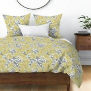Yellow Floral Spring Flower Garden Nature Swirls Sateen Duvet Cover By Roostery