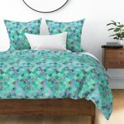 Moroccan Mint Green Ogee Watercolor Patchwork Sateen Duvet Cover By Roostery