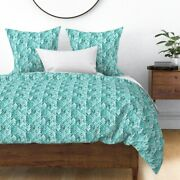 Mint Green Chevron Aqua Turquoise Watercolor Sateen Duvet Cover By Roostery