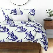 Knights Blue Antique Knight Horse Hume Fogg Sateen Duvet Cover By Roostery