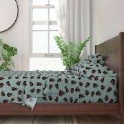 Pinecones Autumn Fall Cool Leaves Cone 100 Cotton Sateen Sheet Set By Roostery