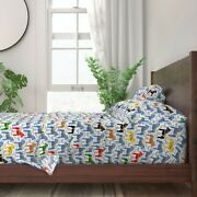 Festive Swedish Horse Pony Equestrian 100 Cotton Sateen Sheet Set By Roostery