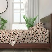 Doxie Flowers Florals Dachshund 100 Cotton Sateen Sheet Set By Roostery
