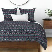 Vintage Christmas Stripe Nordic Trees Stocking Sateen Duvet Cover By Roostery