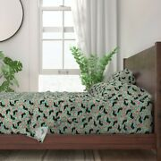Floral Doxie Dog Dachshund Dachshunds 100 Cotton Sateen Sheet Set By Roostery