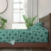 Watercolor Green Green And White Mint 100 Cotton Sateen Sheet Set By Roostery