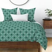 Watercolor Green Green And White Mint Geometric Sateen Duvet Cover By Roostery