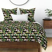 Library Cat Cute Bookshelf Books Green Black Sateen Duvet Cover By Roostery