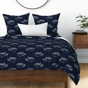 Navy Puffer Fish Nautical Blowfish Beach Decor Sateen Duvet Cover By Roostery