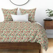Watercolor Illustrated Red Roses Pink Flowers Sateen Duvet Cover By Roostery
