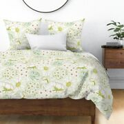 Floral Hand Drawn Illustrated Garden Green Pink Sateen Duvet Cover By Roostery