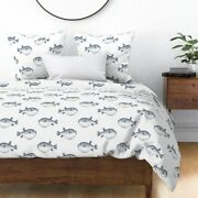 Blue And Whitel Blowfish Puffer Fish Pufferfish Sateen Duvet Cover By Roostery