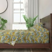 Yellow Blue Marble Stone Gemstone 100 Cotton Sateen Sheet Set By Roostery