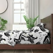 Swan Swans Bird Black And White Large 100 Cotton Sateen Sheet Set By Roostery
