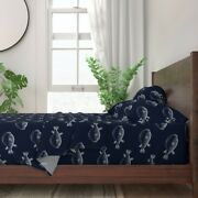 Navy Puffer Fish Nautical Blowfish 100 Cotton Sateen Sheet Set By Roostery
