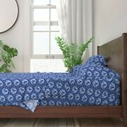 Blue Fish Blowfish Puffer Fish Animals 100 Cotton Sateen Sheet Set By Roostery