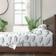 Blue And Whitel Blowfish Puffer Fish 100 Cotton Sateen Sheet Set By Roostery