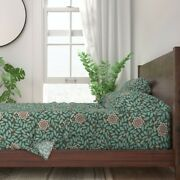 Rustic Autumn Fall Pinecones Leaves 100 Cotton Sateen Sheet Set By Roostery