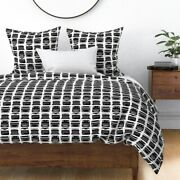 Typewriter Black And White Retro Vintage Keys Sateen Duvet Cover By Roostery