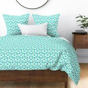 Nautical Blue Sea Green Mint Teal Watercolor Sateen Duvet Cover By Roostery