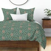 Rustic Autumn Fall Pinecones Leaves Hedge Sateen Duvet Cover By Roostery