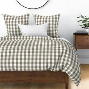 Mulch Brown Mini Gingham Check Light Sateen Duvet Cover By Roostery