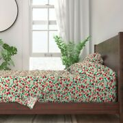 Watercolor Illustrated Red Roses Pink 100 Cotton Sateen Sheet Set By Roostery