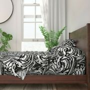 Bold Black White Marble Paint Swirls 100 Cotton Sateen Sheet Set By Roostery